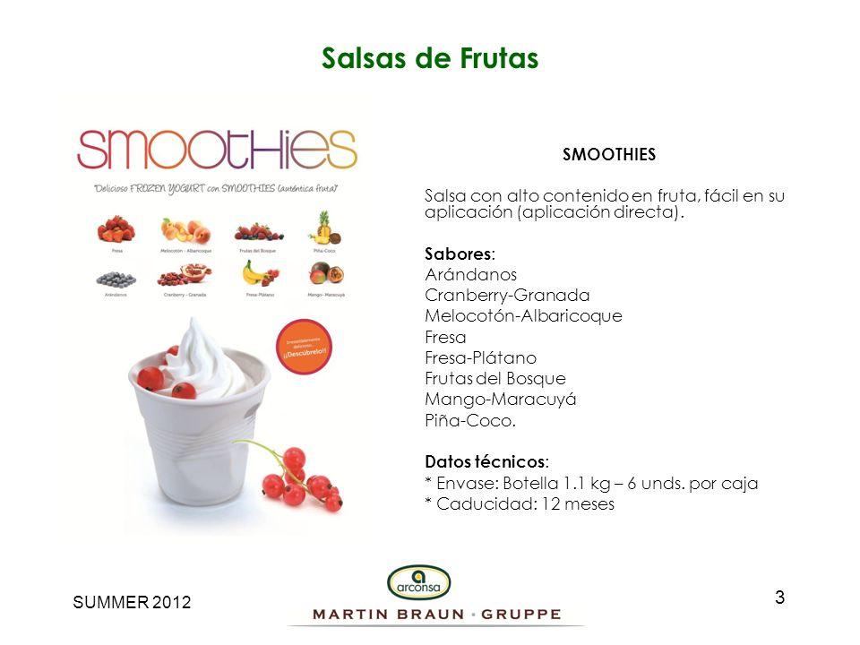SUMMER 2012 Fruta 3 Cremas de relleno con fruta entera especial para vetear y decorar el helado – yogurt.