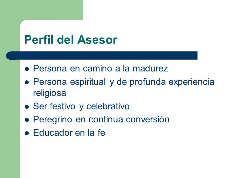 Perfil del Asesor Amigo que acompaña Ayuda para discernir Solidario y comprometido Líder Cristiano Persona comunitaria