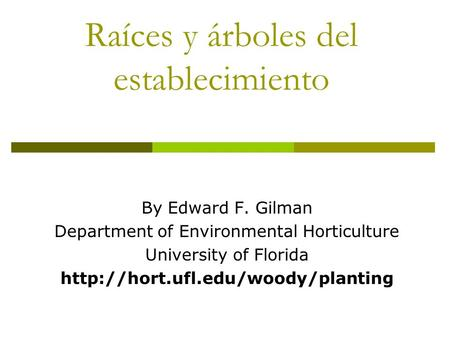 Raíces y árboles del Raíces y árboles del establecimiento By Edward F. Gilman Department of Environmental Horticulture University of Florida