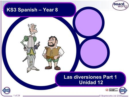 © Boardworks Ltd 2006 1 of 24 KS3 Spanish – Year 8 Las diversiones Part 1 Unidad 12.