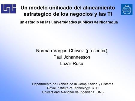 Norman Vargas Chévez (presenter) Paul Johannesson Lazar Rusu