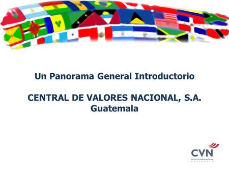 Un Panorama General Introductorio CENTRAL DE VALORES NACIONAL, S.A. Guatemala.