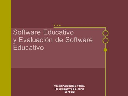 Software Educativo y Evaluación de Software Educativo