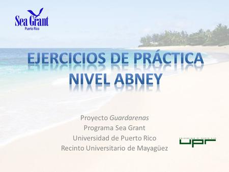 Proyecto Guardarenas Programa Sea Grant Universidad de Puerto Rico Recinto Universitario de Mayagüez.