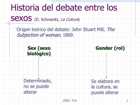 UCSG - R.A.1 Historia del debate entre los sexos (D. Schwanitz, La Cultura) The Subjection of woman Origen teórico del debate: John Stuart Mill, The Subjection.