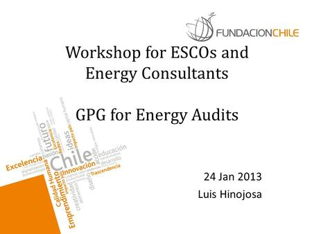 Workshop for ESCOs and Energy Consultants GPG for Energy Audits 24 Jan 2013 Luis Hinojosa.