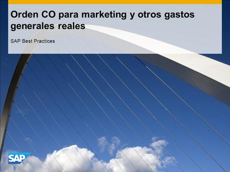Orden CO para marketing y otros gastos generales reales