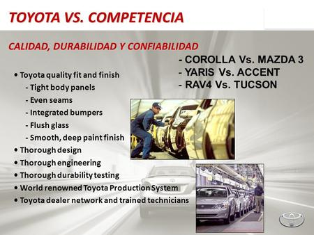 TOYOTA VS. COMPETENCIA CALIDAD, DURABILIDAD Y CONFIABILIDAD Toyota quality fit and finish - Tight body panels - Even seams - Integrated bumpers - Flush.