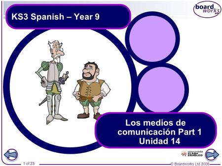 © Boardworks Ltd 2006 1 of 23 KS3 Spanish – Year 9 Los medios de comunicación Part 1 Unidad 14.