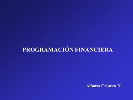PROGRAMACIÓN FINANCIERA