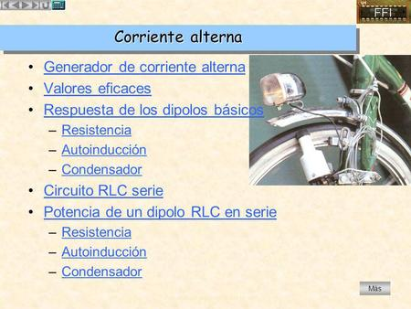 Corriente alterna Generador de corriente alterna Valores eficaces