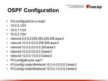 OSPF Configuration IPs configured on a router 10.0.0.1/24 10.0.1.1/24 10.0.2.1/24 network 0.0.0.0 255.255.255.255 area 0 network 10.0.0.0 0.0.255.255 area.