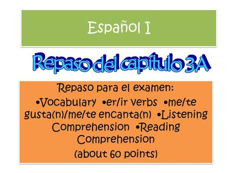 Español I Repaso para el examen: Vocabulary er/ir verbs me/te gusta(n)/me/te encanta(n) Listening Comprehension Reading Comprehension (about 60 points)
