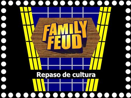 Repaso de cultura 1 Exit Game Mexico Act. Mexico Act. Celebrations España La escuela La escuela Food Immigration Royal Spanish Fam. Royal Spanish Fam.