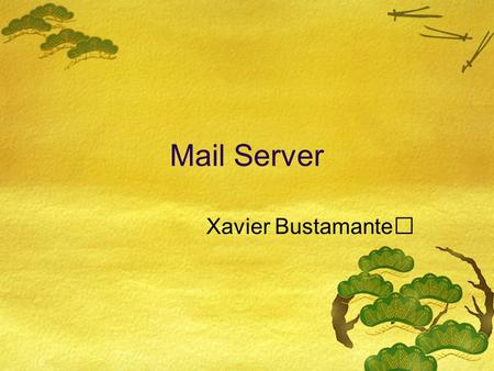 Mail Server Xavier Bustamante. Objetivo: Permitir que usuarios en la red puedan enviar y recibir mail. HUB user10 user20 Mac OS X Server 10.4 user30.