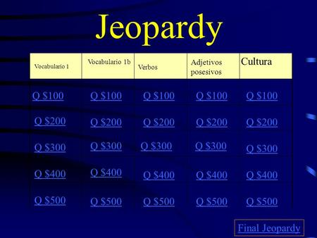 Jeopardy Vocabulario 1 Vocabulario 1b Verbos Adjetivos posesivos Cultura Q $100 Q $200 Q $300 Q $400 Q $500 Q $100 Q $200 Q $300 Q $400 Q $500 Final Jeopardy.
