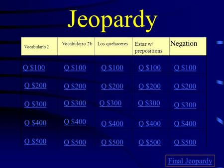 Jeopardy Vocabulario 2 Vocabulario 2bLos quehaceres Estar w/ prepositions Negation Q $100 Q $200 Q $300 Q $400 Q $500 Q $100 Q $200 Q $300 Q $400 Q $500.
