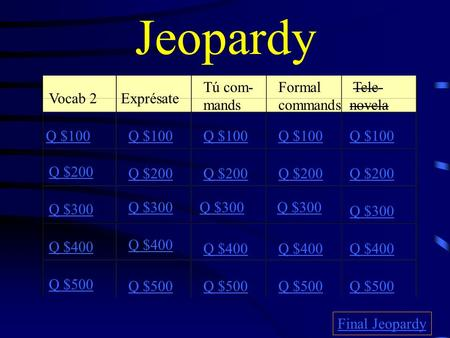 Jeopardy Vocab 2Exprésate Tú com- mands Formal commands Tele- novela Q $100 Q $200 Q $300 Q $400 Q $500 Q $100 Q $200 Q $300 Q $400 Q $500 Final Jeopardy.