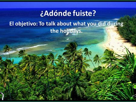 ¿Adónde fuiste? El objetivo: To talk about what you did during the holidays.