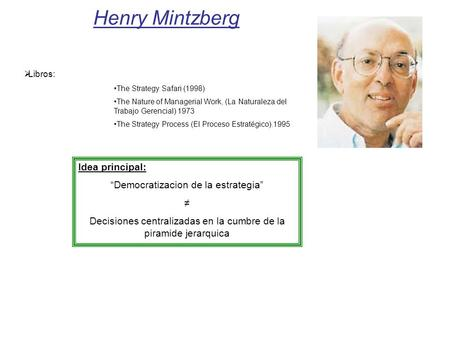 Henry Mintzberg Libros: The Strategy Safari (1998) The Nature of Managerial Work, (La Naturaleza del Trabajo Gerencial) 1973 The Strategy Process (El Proceso.