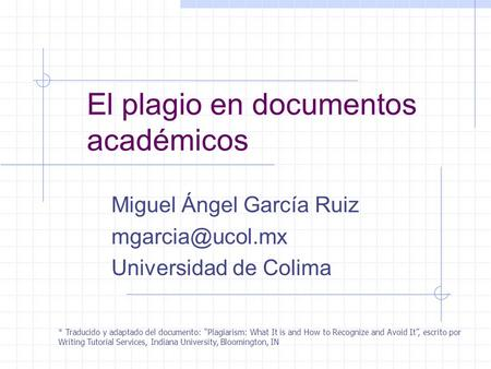 El plagio en documentos académicos