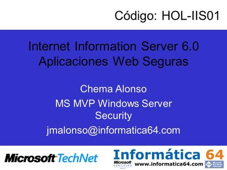 Internet Information Server 6.0 Aplicaciones Web Seguras
