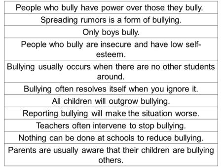 People who bully have power over those they bully. Spreading rumors is a form of bullying. Only boys bully. People who bully are insecure and have low.