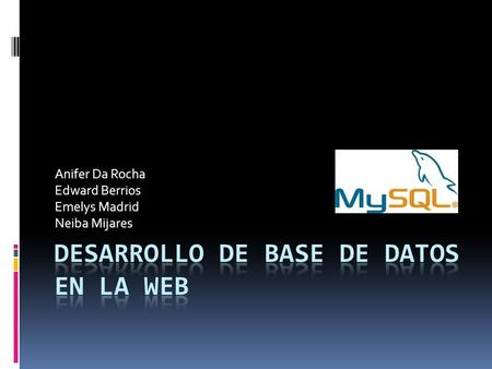 Desarrollo de Base de Datos en la Web
