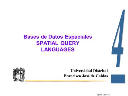 Spatial Database Bases de Datos Espaciales SPATIAL QUERY LANGUAGES.
