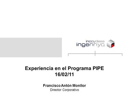 Experiencia en el Programa PIPE 16/02/11 Francisco Antón Monllor Director Corporativo.