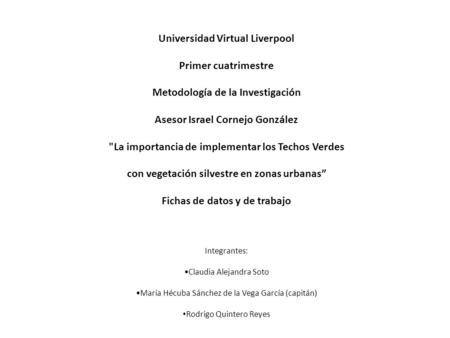 Universidad Virtual Liverpool Primer cuatrimestre