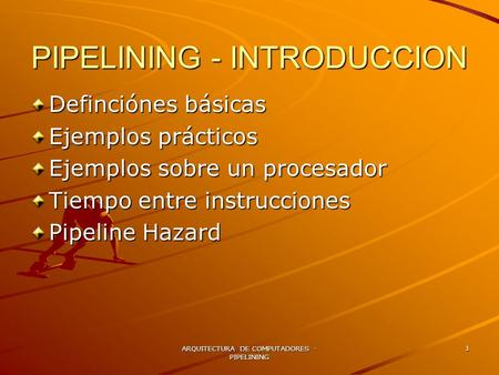 PIPELINING - INTRODUCCION