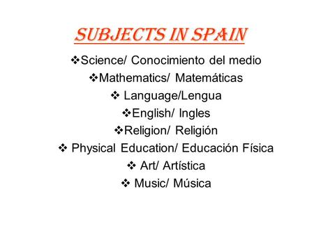 Subjects in Spain Science/ Conocimiento del medio Mathematics/ Matemáticas Language/Lengua English/ Ingles Religion/ Religión Physical Education/ Educación.