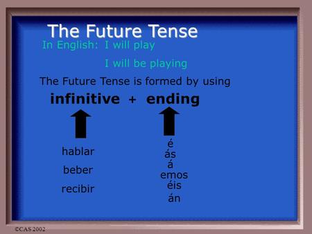 ©CAS 2002 The Future Tense In English: I will play I will be playing The Future Tense is formed by using infinitive + ending hablar beber recibir é ás.