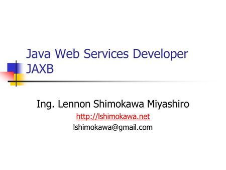 Java Web Services Developer JAXB