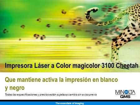The essentials of imaging Que mantiene activa la impresión en blanco y negro Impresora Láser a Color magicolor 3100 Cheetah Todas las especificaciones.