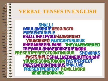 VERBAL TENSES IN ENGLISH. PRESENT SIMPLE. TO WORK (TRABAJAR) FORMA AFIRMATIVA I work You work He works She works It works We work You work They work FORMA.