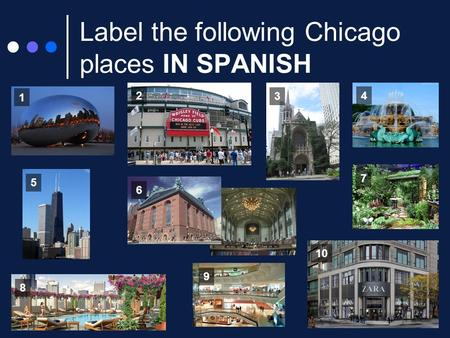 Label the following Chicago places IN SPANISH 1 2 3 4 5 6 7 8 10 9.