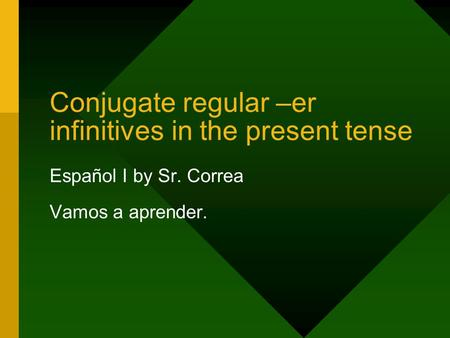 Conjugate regular –er infinitives in the present tense Español I by Sr. Correa Vamos a aprender.