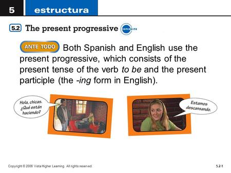 Both Spanish and English use the present progressive, which consists of the present tense of the verb to be and the present participle (the -ing form in.