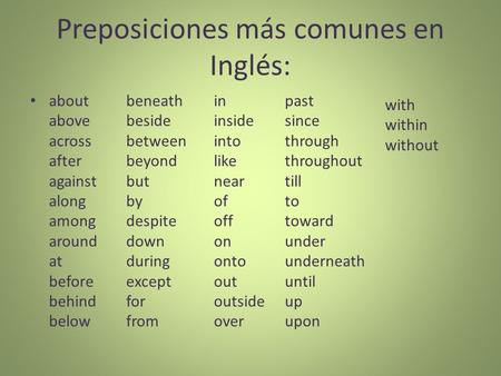 Preposiciones más comunes en Inglés: about above across after against along among around at before behind below beneath beside between beyond but by despite.