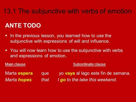 13.1 The subjunctive with verbs of emotion ANTE TODO In the previous lesson, you learned how to use the subjunctive with expressions of will and influence.