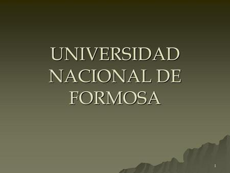 UNIVERSIDAD NACIONAL DE FORMOSA