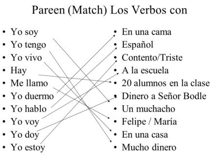 Pareen (Match) Los Verbos con