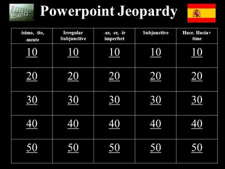 Powerpoint Jeopardy -isimo, -ito, -mente Irregular Subjunctive -ar, -er, -ir imperfect SubjunctiveHace. Hacia+ time 10 20 30 40 50.