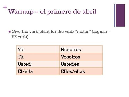 "+ Warmup – el primero de abril Give the verb chart for the verb ""meter"" (regular – ER verb) YoNosotros TúVosotros UstedUstedes Él/ellaEllos/ellas."