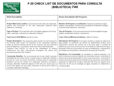 F-25 CHECK LIST DE DOCUMENTOS PARA CONSULTA (BIBLIOTECA) 740 Brief Description:Breve Descripción del Proyecto: Project Name and Location: Improvements.