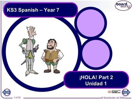 © Boardworks Ltd 2006 1 of 32 KS3 Spanish – Year 7 ¡HOLA! Part 2 Unidad 1.