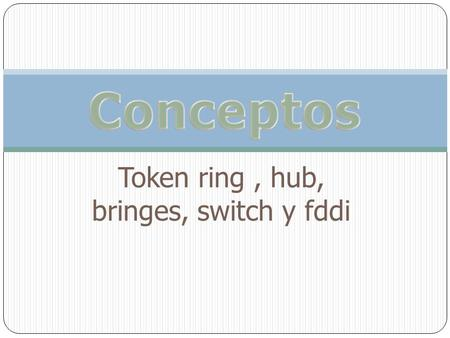 Token ring , hub, bringes, switch y fddi