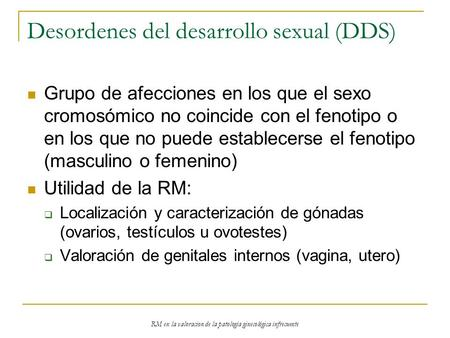 Desordenes del desarrollo sexual (DDS)